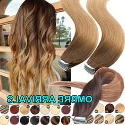 Ombre Highlight SUPER Tape in Hair Extensions 100% Remy Huma