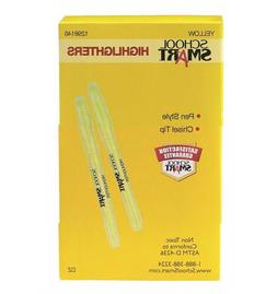 School Smart Pen Style Highlighters, Chisel Tip, Yellow, Pac