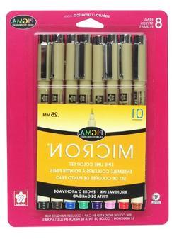 Sakura Pigma Micron 01 0.25mm - 8pk Assorted Color Pen Set,