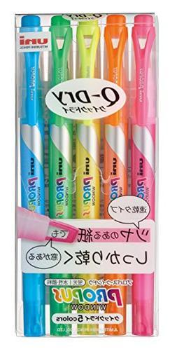 Uni Propus Window Quick Dry Highlighter Pen Set 5 Colors