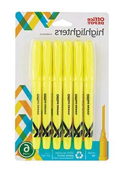 Office Depot Brand 100% Recycled Pen-Style Highlighters, Yel