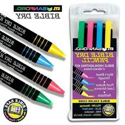 Sandford Bible Highlighter Kit - 4 Colors Dry Pencil Non-Ble