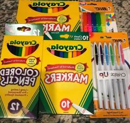 School Supplies Lot:Crayola Markers, Colored Pencils, Pens,
