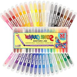 Set 36 Super Crayons, Smooth Easy Glide Gel Crayons, Bright,