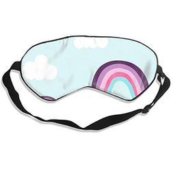 Oh-HiH 100% Silk Eye Mask Cloud Rainbow Blue Sleeping Blindf