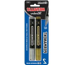 BAZIC Silver and Gold Jumbo Metallic Markers 2 Per Pack ,Gol