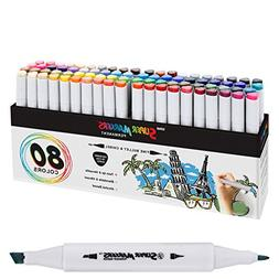80 Color Super Markers Primary & Secondary Tones Dual Tip Se