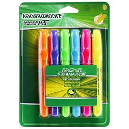Ticonderoga Emphasis Fluorescent Highlighters, Desk Style, C