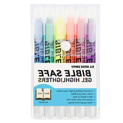 U.S. Office Supply Bible Safe Gel Highlighters - 6 Bright Ne