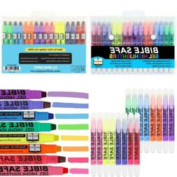 U.S. Office Supply Bible Safe Gel Highlighters - 8 Bright Ne