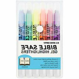 U.S. Office Supply Highlighters Bible Safe Gel - 6 Bright Ne