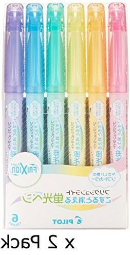 x2 Pilot Highlighter Frixion Light, 6 Soft Color Set