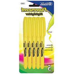 BAZIC Yellow Pen Style Fluorescent Highlighter w/ Pocket Cli