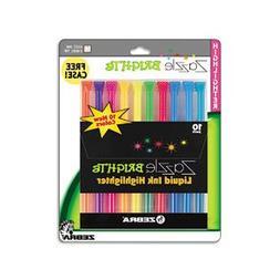 Zebra 71111 Zazzle Liquid Ink Highlighter, Chisel Tip, Asst